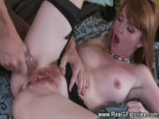wife gets creampie on her hairy beaver