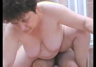 aged woman sucks and bonks a youthful guy in the