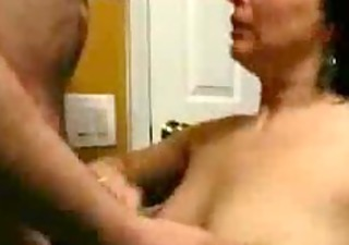 blow and facial in the garage