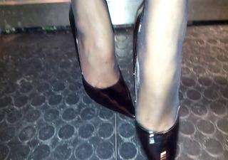 heels feets in nylon