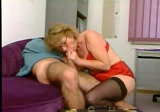older in red lingerie and darksome stockings fucks