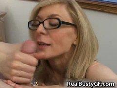 blonde mom in glasses licking stiff part3