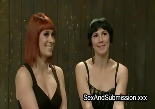 lesbians made to anal fuck with dong sex-toy tied