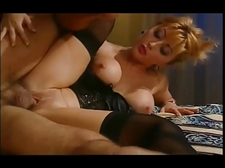 sexy asian wife in satin basque &; stockings
