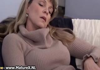 aged aged woman enjoys laying