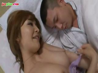 horny japanese mamma acquires her teats tweaked