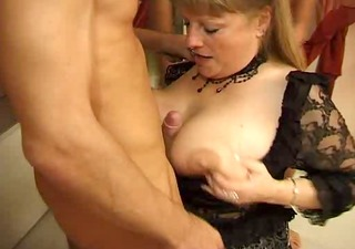super hot older french woman receive fucked by 3