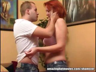 mature redhead getting her milk cans kissed and