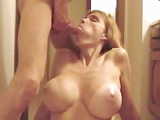 sexy blonde large tit milf gives nice blowjob