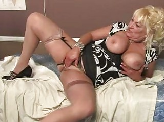 blonde momma with huge boobs in hot lingerie