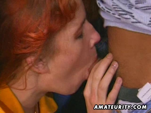 redhead amateur milf sucks and bonks with facial