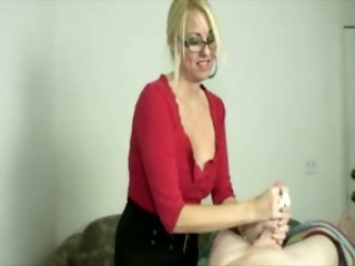 blonde milf tugging cock during massage for this