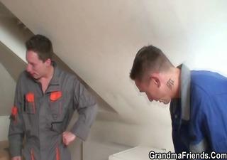 two repairmen gangbang breasty grandma