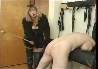 mistress cristian thrashing her villein man