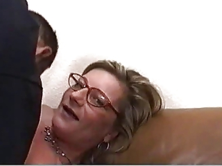 golden-haired milf with glasses fucked hard and