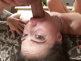 sexy brunette hair mother i with glasses sucks on