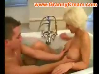 blonde older mama drilled in the baths