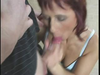 redhead mom gets fingered, eats cock and acquires