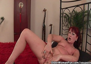 red hawt grandma gets her small tits overspread