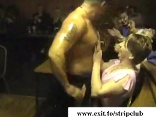 drunk wives attacking knobs in stripper bar