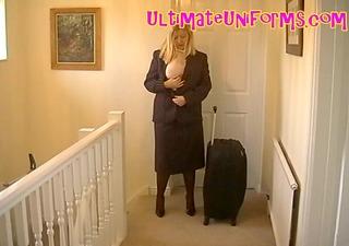 british flight attendant in uniform with black
