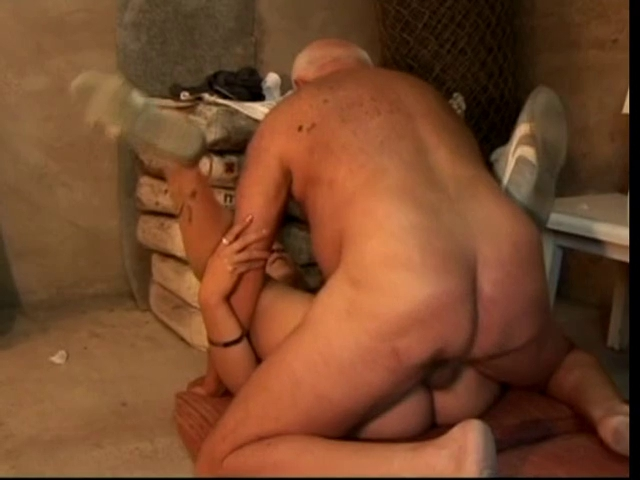 thin blonde drilled by old car mechanic in garage