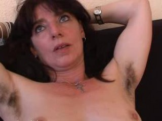 hairy mature non-professional in panties spreads