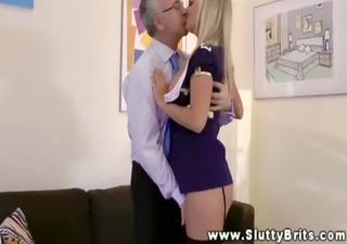 youthful slut spoiling an old mans cock