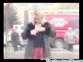 drunk slut urinates in street