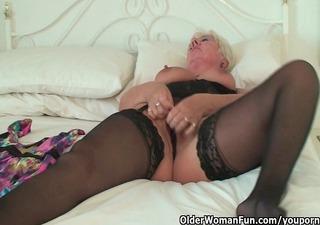 curvy granny in black nylons rubs her old love