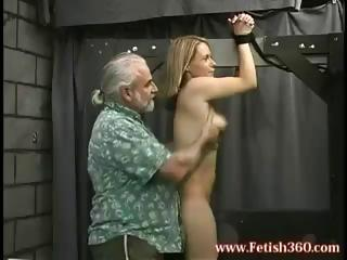blond milf is tied up and gets her booty spanked
