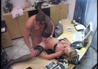 secretary makes a splash in her bosses office