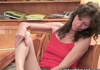 saggy granny with hirsute pussy finger fucks