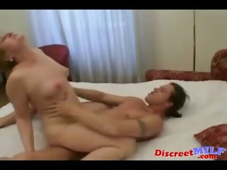 aged cougar tempt younger man and get facial