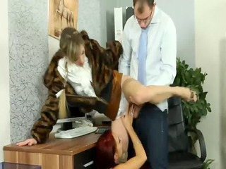a boss and his wife share a secretaries vagina