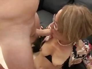 mature dame in glasses does some asshole act with