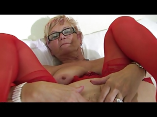 granny in glasses and red lingerie and nylons