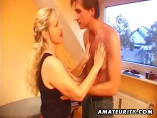 busty amateur golden-haired mother i blows his