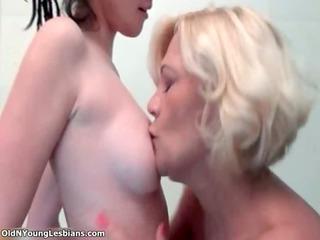 slutty older blond lesbo hugging
