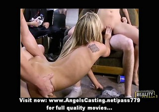 blonde and brunette hair honey having an orgy