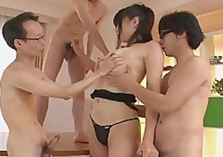 guys receive a japanese girl blow job from saki