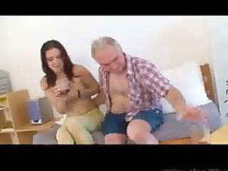 small tittted honey gets drilled by grandpa part1