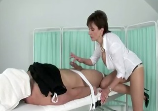 miss sonia dominates his hard cock as he lays