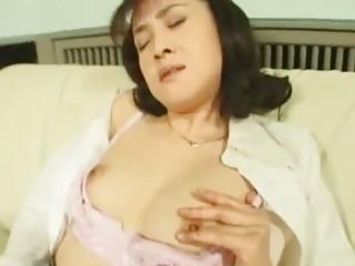 lustful asian wife masturbating in nylons