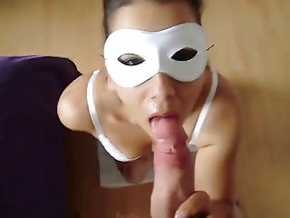 masked wife fellatio and cumshot