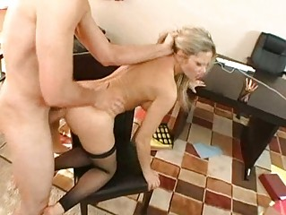 sweet busty blond milf gets her chocolate hole
