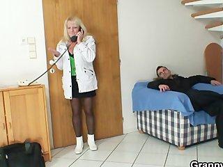 blonde grandma in dark nylons bonks
