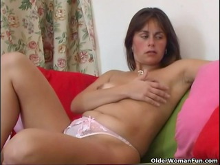 bushy and older mommy masturbates with fingers