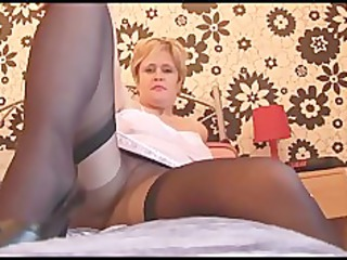 busty aged hottie in pantyhose nylons and slide