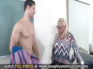 breasty blonde teacher makes her student fuck her
